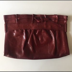Vintage red leather clutch from Japan